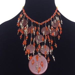 Bead Fringe Choker Necklace Orange